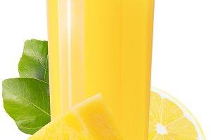 Glass with lemon and pineapple juice