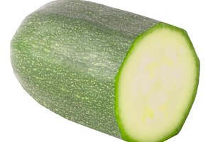 Slice courgette isolated on white