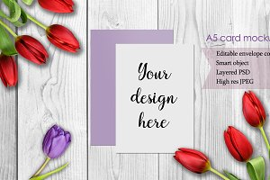 A5 Card Mockup with tulip flowers