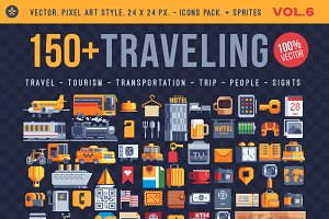 Traveling, 150+ pixel art icons.