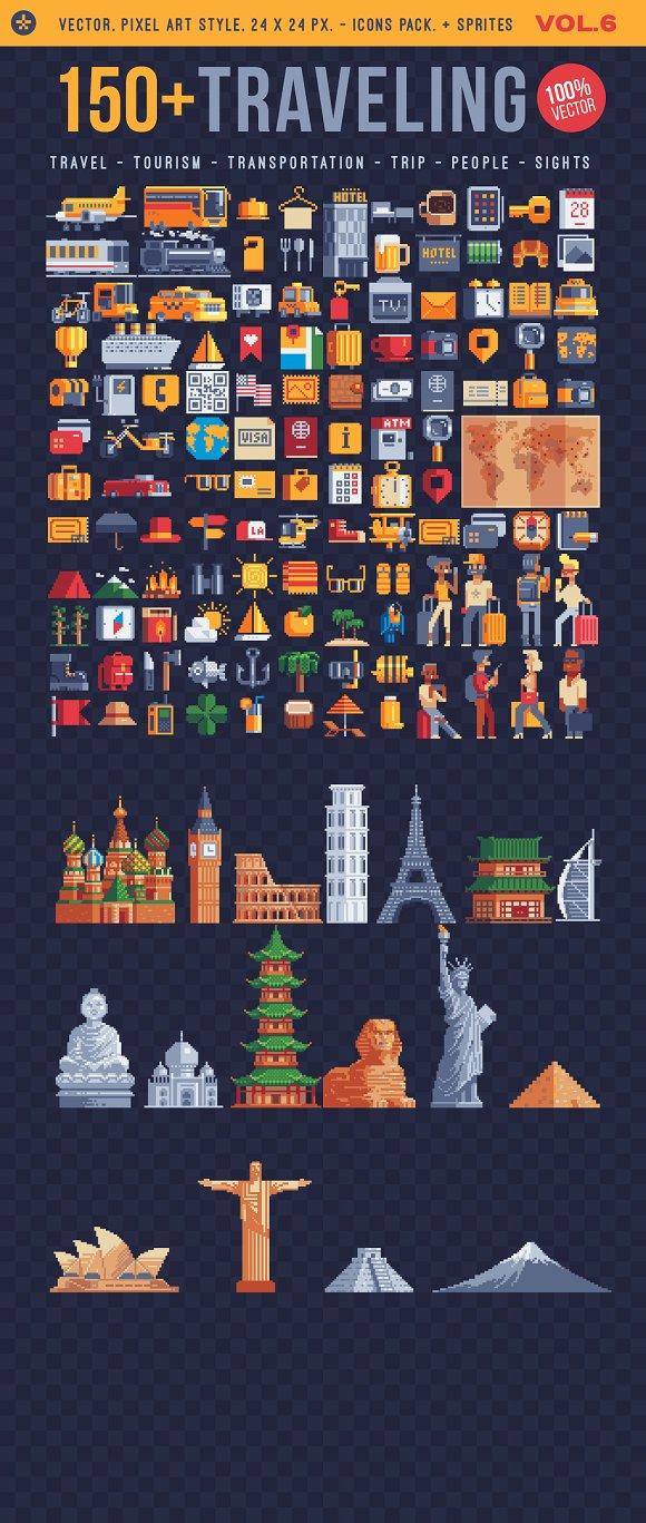 Traveling, 150+ pixel art icons.