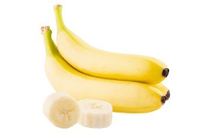 Bunch of bananas and slices isolated