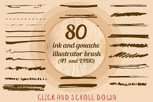 80+ ink brushes set for Illustrator