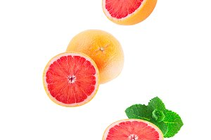 Isolated flying grapefruits with