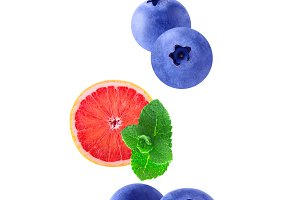 Isolated flying fruits