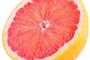 Half grapefruit isolated on white