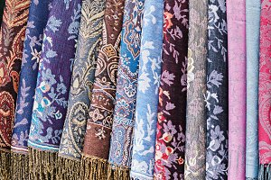 Decorative colorful textile rols