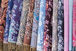 Decorative colorful textile rols