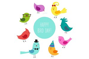 Cute childish Bird Day card with funny cartoon characters of birds