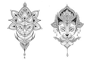 Mandala cat. 2 vector tattoo designs