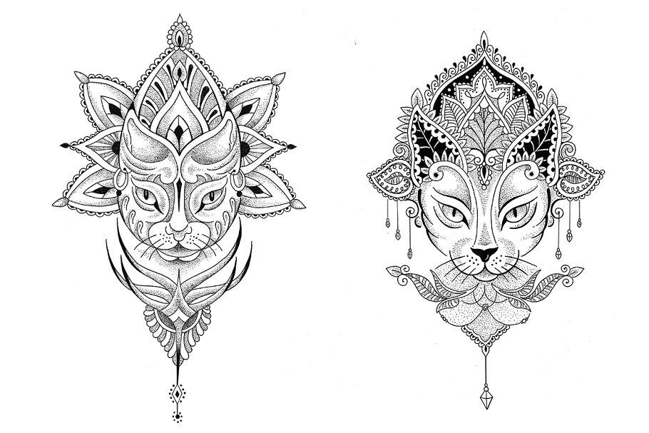 868da14e1c287 Mandala cat. 2 vector tattoo designs ~ Illustrations ~ Creative Market