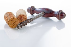 Traditional corkscrew with corks