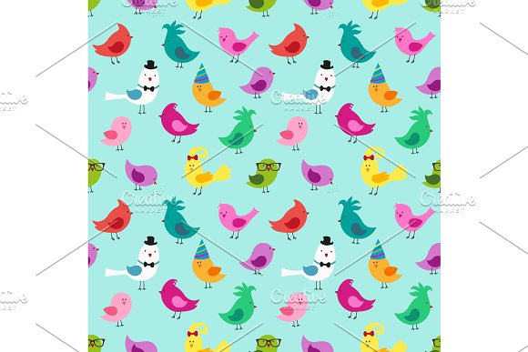 Cute childish seamless pattern with colorful birds