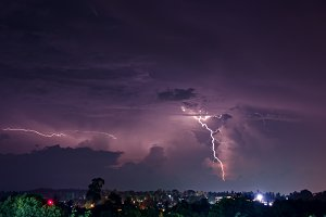 Thunderstorm with lightning bolts.