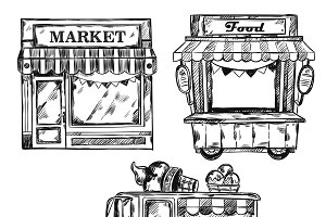 Vintage Shop Facade Icon Set