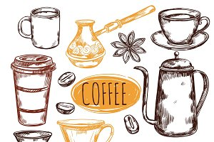 Sketch Coffee Icon Set