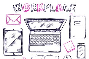 Sketch Workplace Top View Template