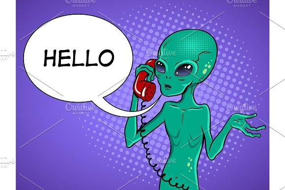 Alien speaking on phone pop art vector in Illustrations