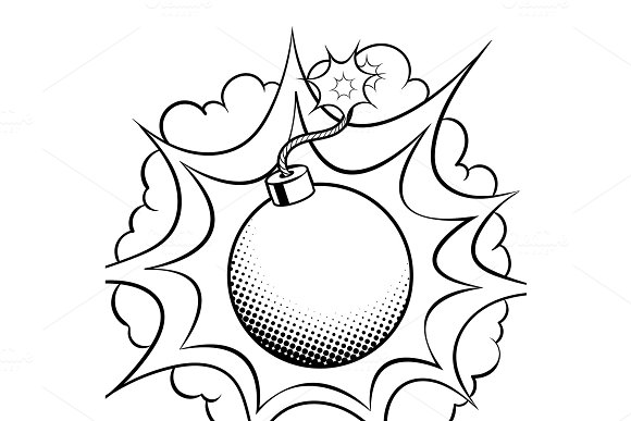 Exploding bomb coloring book vector in Illustrations