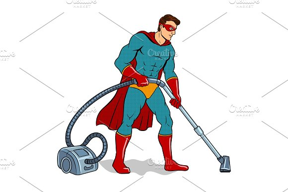Superhero with vacuum cleaner pop art vector in Illustrations