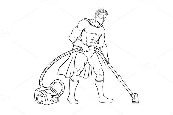 Superhero with vacuum cleaner coloring book vector