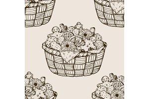 Basket with cookies seamless pattern engraving