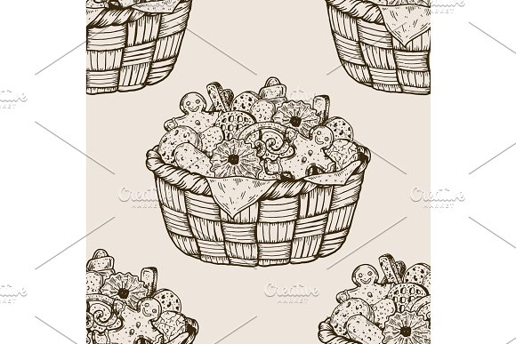 Basket with cookies seamless pattern engraving