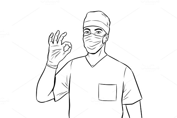 Doctor shows ok gesture coloring book vector