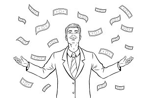 Businessman and money rain coloring book vector