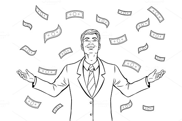 Businessman and money rain coloring book vector in Illustrations