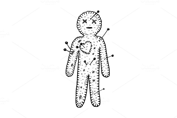 Voodoo doll engraving vector illustration
