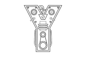 Mechanical letter Y engraving vector illustration