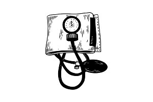 Medical blood pressure meter engraving vector