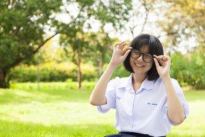 Schoolgirl smiling