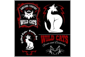 Black and white cats - vector set. Vector template for logo and tattoo.