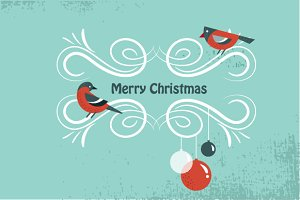 3 Christmas winter cards with birds