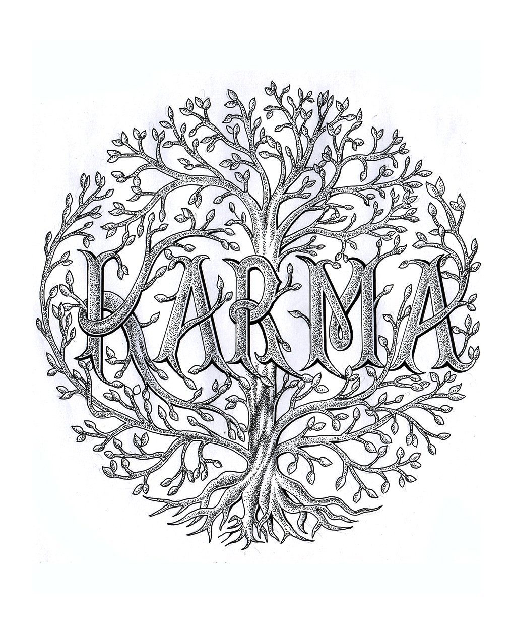 karma vector tattoo designs active illustrations creative market. Black Bedroom Furniture Sets. Home Design Ideas