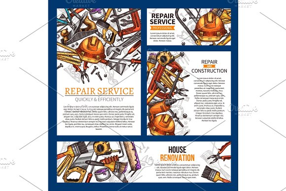 House repair and renovation banner with tool