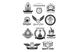Volleyball sport club awards vector icons set