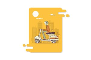 Hipster man riding fast retro scooters.Modern thin linear stroke illustration