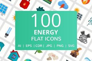 100 Energy Flat Icons