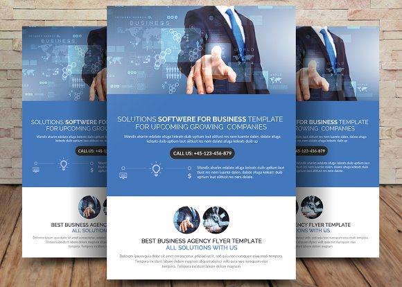 Solution And Software Flyer Template Flyer Templates Creative Market