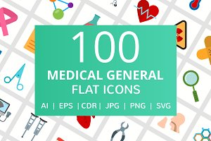 100 Medical General Flat Icons