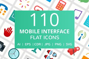 111 Mobile Interface Flat Icons