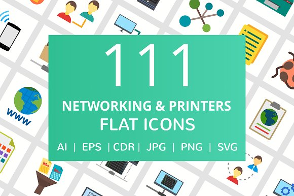 111 Networking Printers Flat Icons