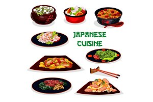 Japanese cuisine traditional dinner cartoon icon