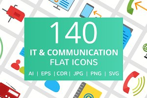 140 IT & Communication Flat Icons
