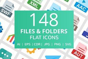148 Files & Folders Flat Icons