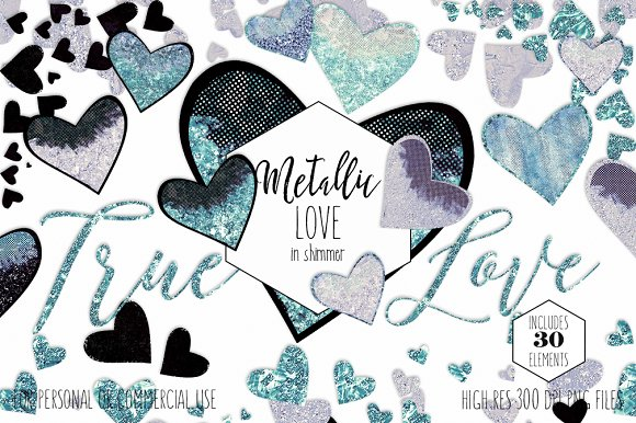 Valentine's Day Glam Heart Graphics in Illustrations