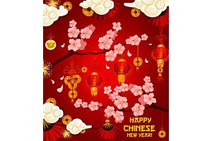 Chinese lunar New Year wish vector greeting card